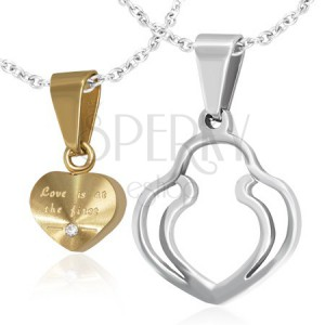 Přívěsky pro dvojici - zlaté srdce, dvojitý obrys srdce, zirkon