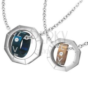 Přívěsek dva díly - matice, dvoubarevné prstence