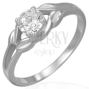 Ocelový zásnubní prsten - čirý zirkon ve smyčce