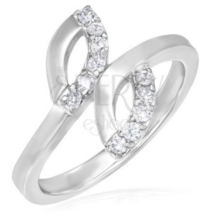Snubní prsten z oceli - dvě slzičky, drobné zirkony