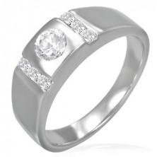 Snubní prsten - kulaté očko lemované zirkonovými pruhy