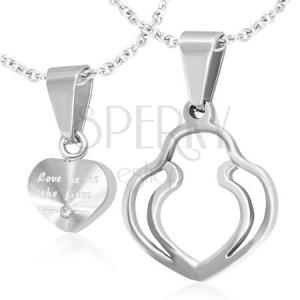Přívěsky pro dvojici - stříbrné srdce, dvojitý obrys srdce, zirkon