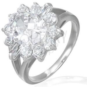Zásnubní prsten - mohutný zirkonový květ