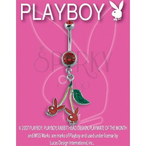 PLAYBOY piercing belly ring s třešničkami Bunny