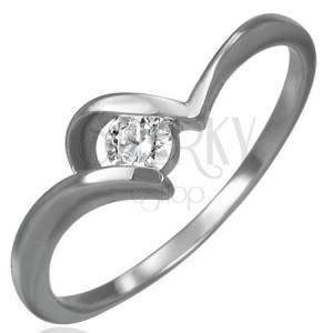Ocelový snubní prsten - zirkon, úchyt ve tvaru U