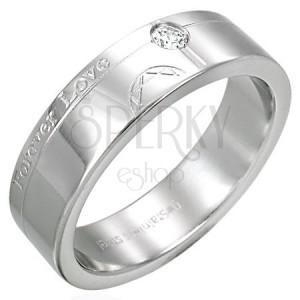 Ocelový prsten - Forever Love, zirkon