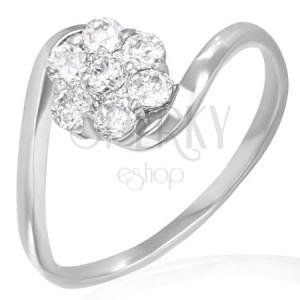 Snubní prsten - duhový kvítek ze zirkonů