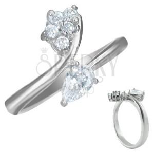 Zásnubní prsten - zirkon slzička a pět malých zirkonků