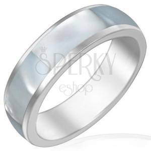Ocelový prsten s perleťovým středovým pásem