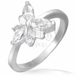 Snubní prsten, ocelově-zirkonový motýlek