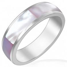 Prsten z lesklé oceli s růžovou perletí F7.5