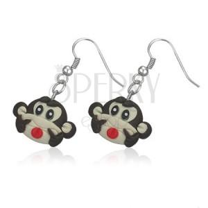 Fimo náušnice - veselá hnědá opička
