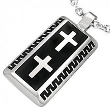 Přívěsek z chirurgické oceli obdélník motiv dva kříže