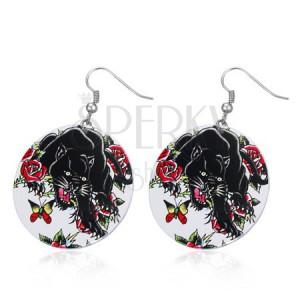 Ocelové náušnice - veliké kruhy, černý panter, růže, motýl