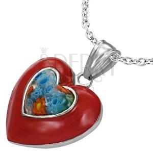 Glazurovaný ocelový přívěsek - červené srdce, květ Millefiori