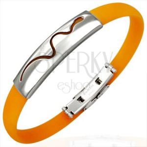 Oranžový gumový náramek - vlnící se had