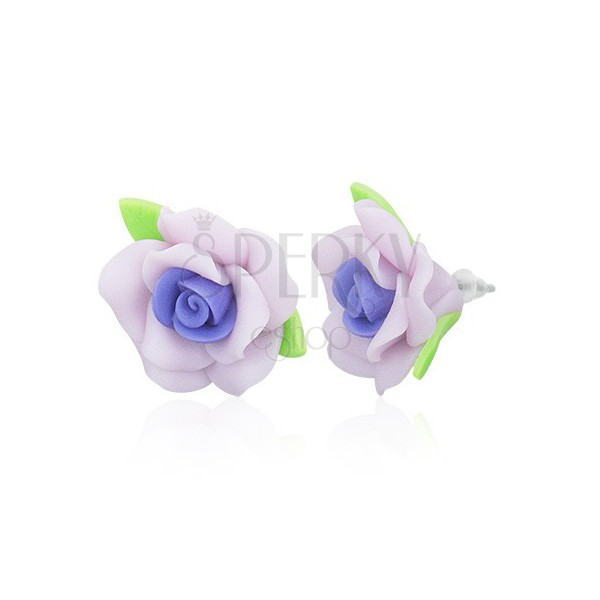 Puzetové FIMO náušnice - fialové růžičky s lístky