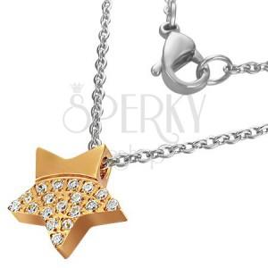 Ocelový náhrdelník - zářivá zlatá hvězda se zirkony