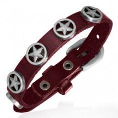 Kožený tmavě červený náramek - hvězdy v kruhu T10.14