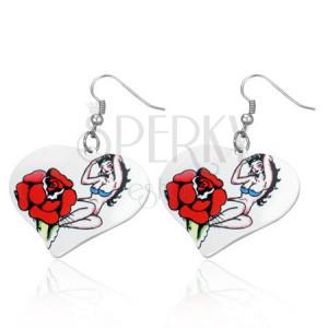 Srdíčkové ocelové náušnice - sexi lady, růže