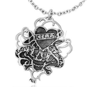 Vampírský vintage ocelový přívěsek - srdce a lebka