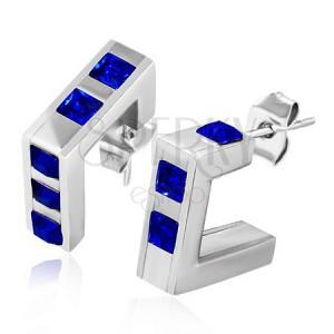 Ocelové hranaté náušnice - tmavě modré zirkonové čtverce