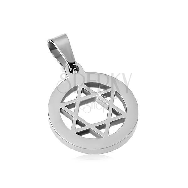 Přívěsek z chirurgické oceli, Davidova hvězda v kruhu