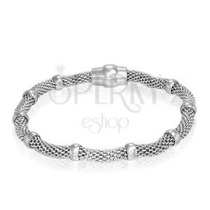 Síťovinový ocelový náramek - dutý, kroužky, magnetické zapínání