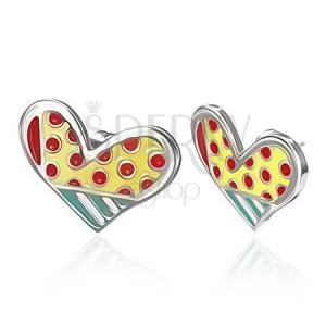Smaltované ocelové náušnice - tečkované asymetrické srdce