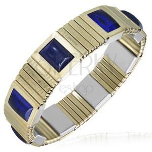 Strečový ocelový náramek - zlaté články, modré kamínky