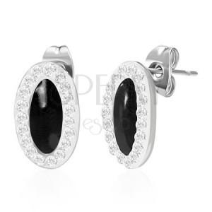 Oválné ocelové náušnice - zirkonový obvod, černé