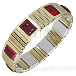 Strečový ocelový náramek - úzké zlaté články, červené kamínky