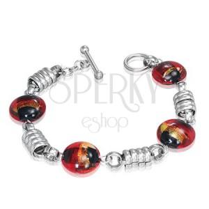 Ocelový náramek - stříbrné kroužky, červené pilulky