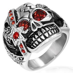 Prsten z ocelu - zuřivý bojovník s medailí, lebka, zirkonové oči