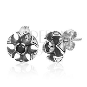 Malé ocelové náušnice - lotosový květ, černý zirkon