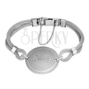 Ocelový náramek - zvěrokruh, znamení Škorpion, pletený řemínek