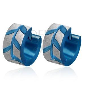 Modré ocelové náušnice - lístky Akácie, broušené