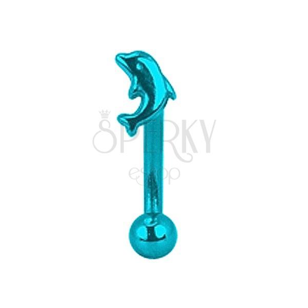 Piercing do obočí titanový anodizovaný - modrý delfin