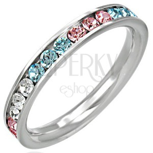 Ocelový prsten - zirkony ve třech barvách