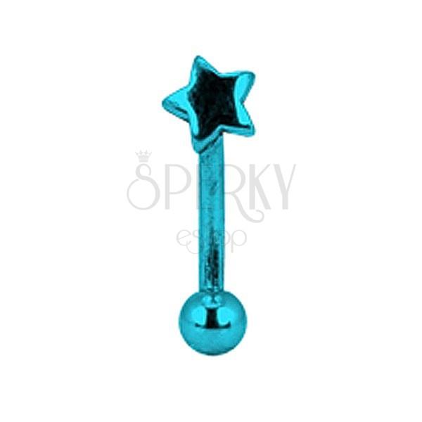 Piercing do obočí titanový anodizovaný - modrá hvězda