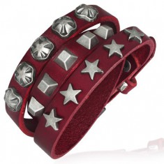 Kožený úzký náramek - hvězdy a pyramidky, červený T13.4