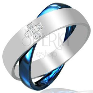 Ocelový dvojprsten, modro-stříbrný