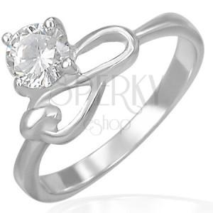 Ocelový zásnubní prsten - čirý zirkon a symbol nekonečna