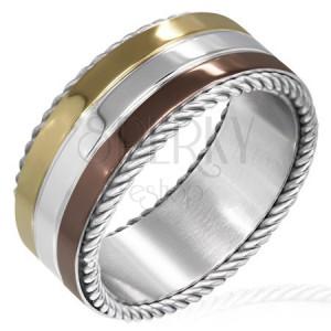 Trojbarevný prsten z oceli - točené lanko na okraji