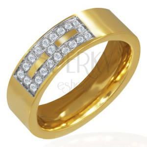 Pozlacený ocelový prsten - zirkonový vzor