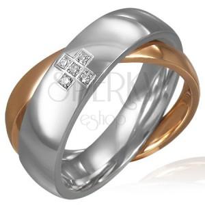 Dvojitý ocelový prsten - zirkonový kříž, zlatý a stříbrný