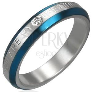 Snubní prstýnek - modré pásy, zirkon, nápis