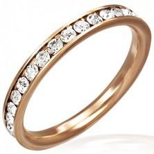 Ocelový prsten růžovozlaté barvy - čiré zirkony po obvodu