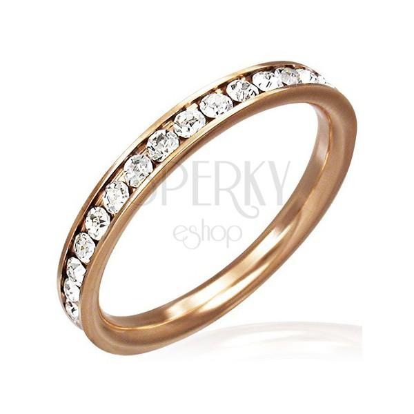 Ocelový prsten ve zlaté barvě - čiré zirkony po obvodu