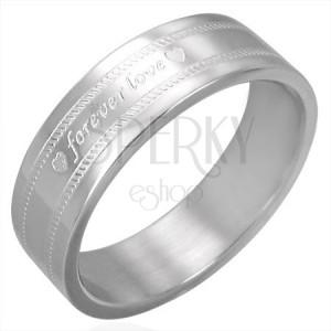 Ocelový prsten s gravírováním FOREVER LOVE